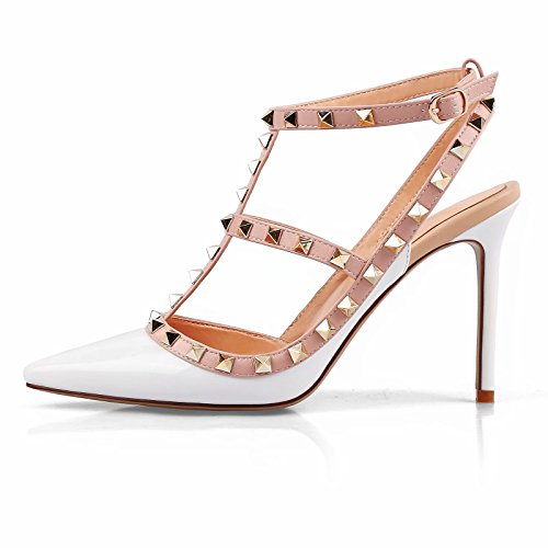 (Chris-T Women Pointed Toe Studded Strappy Slingback High Heel 4 Inches Leather Pumps Stilettos Sandals White Size 7)