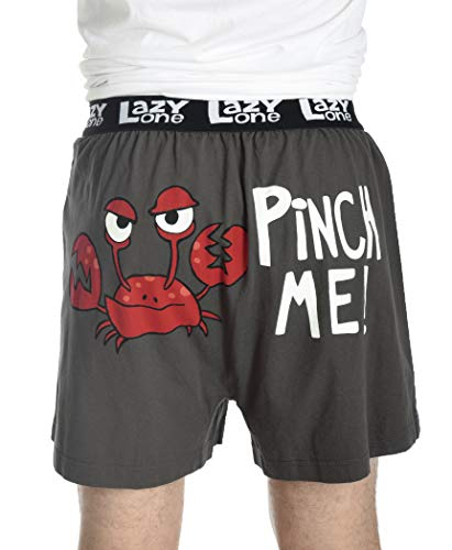 Crabby in The Morning Soft Comical Boxers for Men by LazyOne | Animal Pun Joke Underwear for Guys (Large)