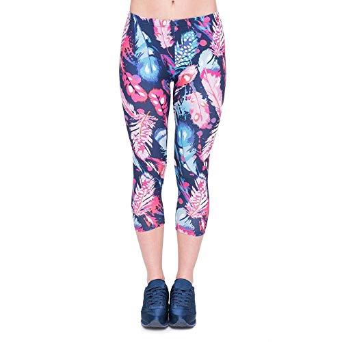4 Donna Estate Stampa Allenamento Hx Fashion Leggings Colori Fitness Capri Chic Lgc45782 Da Yoga Piume Ragazza Vitello A Pantaloni Mid 3 wxwpqaB