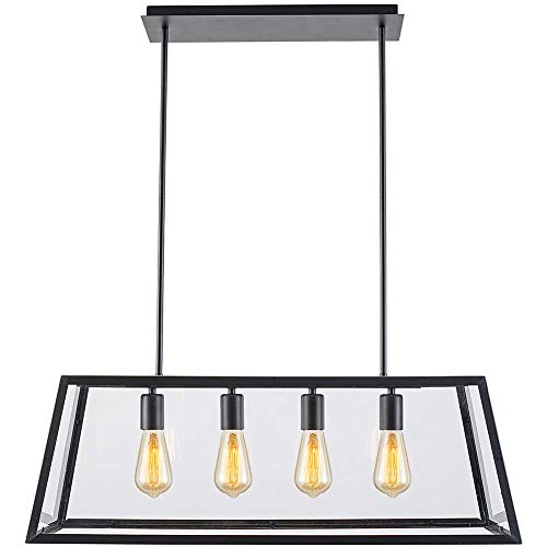 Lampundit Chandelier 4-Light Pendant, Matte Black Finish with Clear Glass Panels, Modern Industrial Square Linear Pendant Lighting for Kitchen Island Breakfast Bar Dining Room