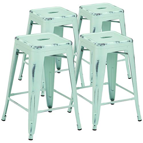 (Pioneer Square Haley 24-Inch Backless Square-Seated Counter-Height Metal Stool, Set of 4, Pastel Mint Blue)