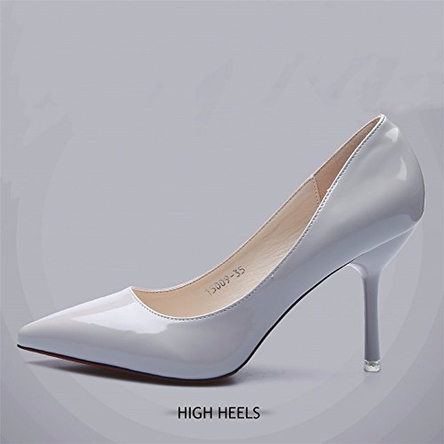 HXVU56546 Sugerencia Mujer Zapatos De Tacón Fino Con La Primavera Y Otoño Newetiquette Pintado Brillante-Solo Zapatos De Cuero The light gray