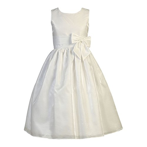 Lito Big Girls White Striped Organza Satin Bow Holly Communion Dress 12