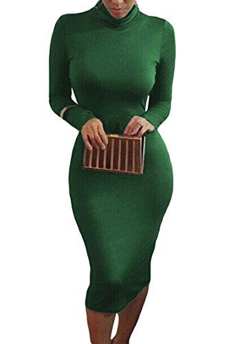 Pink Queen Womens Turtleneck Long Sleeve Knee Length Bodycon Midi Dress S Green