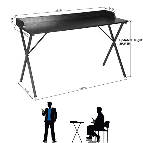 Black Aingoo Large Writing Computer Desk Study Table 47 Simplified Black Workstation Home Office Modern Updated Version