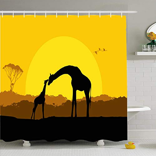 Ahawoso Shower Curtain 72x72 Inches Africa Orange Giraffe Mother Child Safari Sunset Wildlife Yellow African Couple Sky Baby Waterproof Polyester Fabric Set with Hooks
