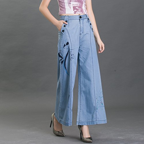 Large avec No Jean Denim Casual Confortable Stretch Impression Jambe Pantalons Taille Grande Mince Femme Bleu Evase en Tookang Bootcut SYvzHqYx