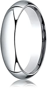 Benchmark 14K White Gold 5mm High Dome Heavy Comfort-Fit Wedding Band Ring , Size 15.25