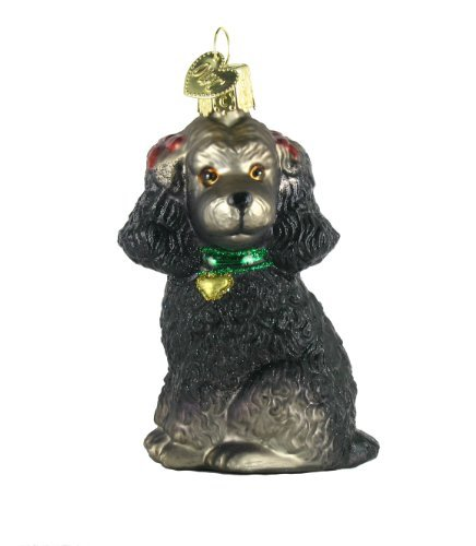 Old World Christmas Poodle Glass Ornament- Black
