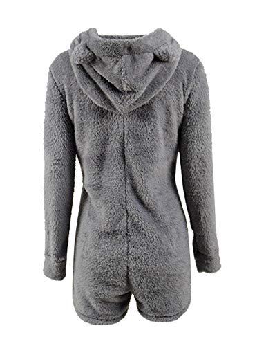 50fe4ec60b47 Missfamo Ladies Cute Long Sleeve Sleepwear Fleece Hooded Cozy Sherpa Romper  Fluffy Pajamas Short One Piece