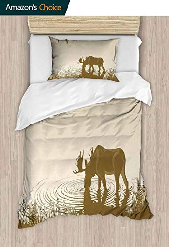 Animal 3D Bedding Quilt Set, Silhouette of Elk Drinking Water in Lake River Forest Wildlife Scenery Illustration, Reversible Coverlet, Bedspread, Gifts for Girls Women,71 W x 79 L Inches, Cream Sepia
