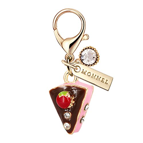 MC42 New Arrival Cute 3D Chocolate Strawberry Cupcake Lobster Charms Pendants with Pouch Bag (1 piece) (Piece Of Cake Charm)