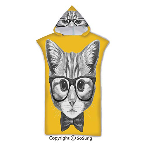 Animal Decor Kids Hooded Beach Bath Towel,Sketchy Hand Drawn Design Baby Hipster Cat Cute Kitten with Glasses Image,7-15 Years Old Microfiber Bath Robe,Black and White,for Beach Pool Shower