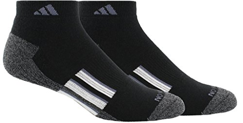 adidas Mens Climalite X II Low Cut Socks (2-Pack), Black/Black/Onix Marl/White/Onix, Size 6-12