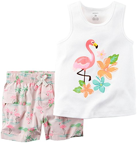 Carter's Baby Girls' 2 Pc Playwear Sets 239g141, White, 6 Months