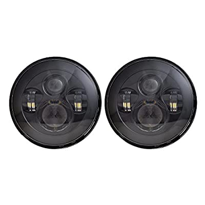 X AUTOHAUX 2Pcs 7 Inch Round Led Headlights Housing Low/High H6024 H6012 for Jeep Wrangler