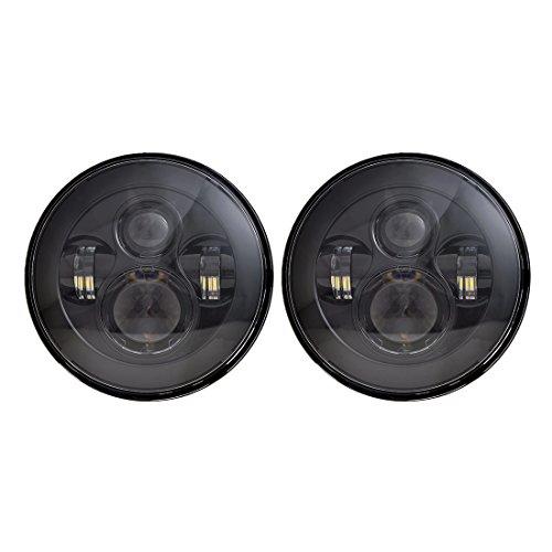 X AUTOHAUX 7'' DC 10-30V Round Black LED Headlight H4 H13 High Low Beam for Jeep Wrangler JK TJ LJ CJ Hummber H1 H2