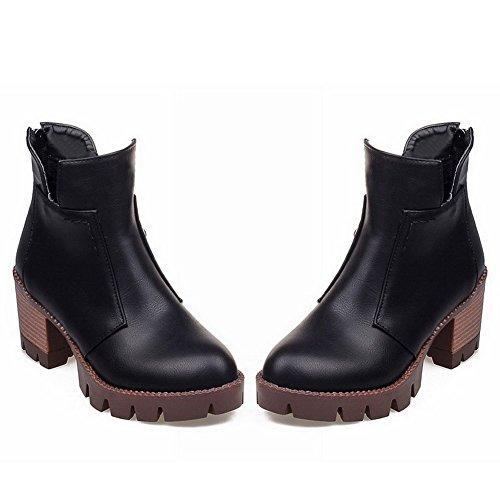 AllhqFashion Womens Solid Kitten-Heels Round Closed Toe PU Zipper Boots Black aVxLwBDDG7