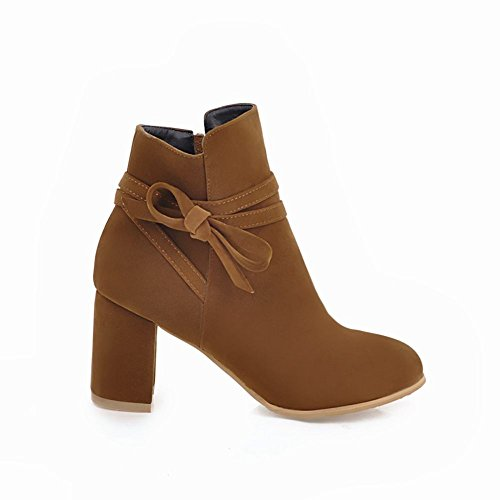 Chic Zip Mee Kurze Stiefel High Gelb Damen Heel Shoes EqqWASTf