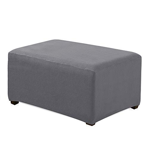 CHUN YI Oversized Ottoman Slipcover Jacquard Polyester Stretch Fabric Rectangle Folding Storage Stool Ottoman Cover Furniture Protector for Living Room (Oversize, Light Gray)