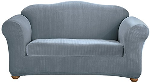 Sure Fit Stretch Pinstripe 2-Piece - Sofa Slipcover  - French Blue (SF35835)