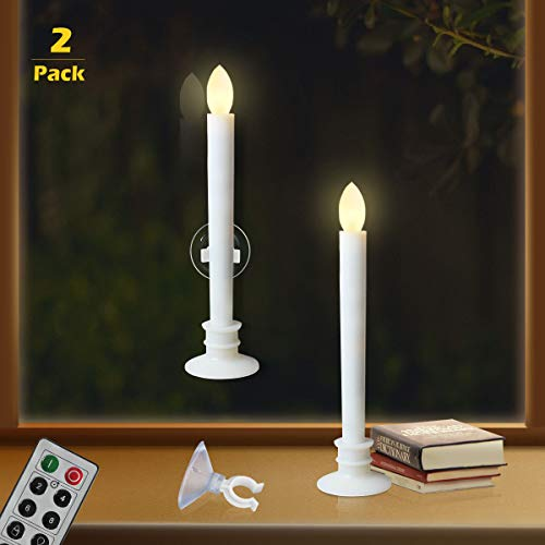 Battery Operated Candles with Timers and Remote for Window Flickering Flameless Led Electric Candle Lights with 2pcs White Base and 2pcs Suction Cups Taper Candle Holder for Christmas Decorations