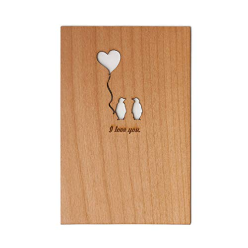 Penguin Love Laser Cut Wood Card (Valentine's Day/Love/Anniversary/Boyfriend or Girlfriend) ()