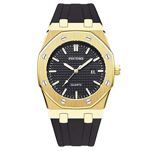 Mens Fashion Luxury Wristwatch Simple Business Design Two-Tone Luminous Quartz Analog Casual Watch Gold/Black