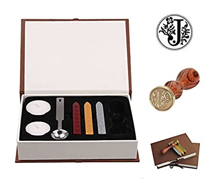 Ocharzy Antique Alphabet Wax Seal Sealing Stamp Sticks Melting Spoon Candles Set with Gift Box