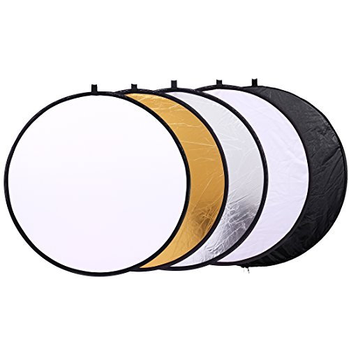 5 in 1 Photo Video Reflectors 12 inch (30cm) Collapsible Multi-Disc Light Round Photography Reflector with Bag -Translucent, Silver, Gold, White and Black