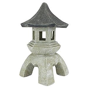 Design Toscano Asian Decor Pagoda Lantern Outdoor Statue, Large 43.25 cm, Polyresin, Two Tone Stone