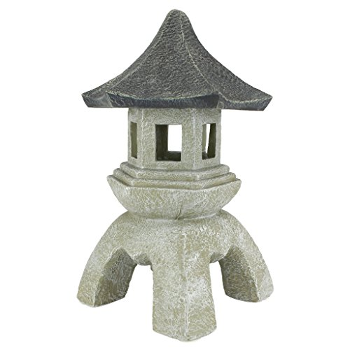 Design Toscano Asian Decor Pagoda Lantern Outdoor Statue, Large 17 Inch, Polyresin, Two Tone Stone (Zen Outdoor Patio)