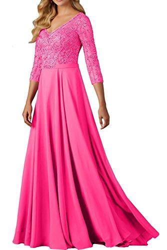 Braut La Ausschnitt Langarm Perlen Festlichkleider Marie Abendkleider Damen Pink Pfirsisch Neu Brautmutterkleider V B54H5q