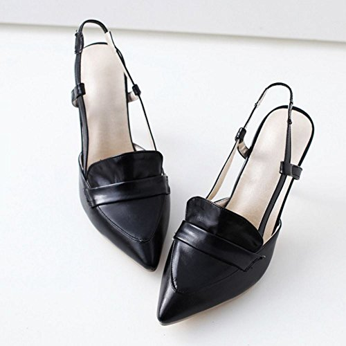 COOLCEPT Mujer Moda Sin Cordones Sandalias Cerrado Slingback Tacon de Aguja Zapatos Negro