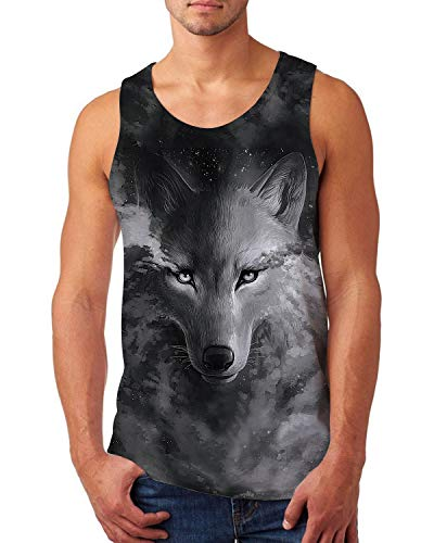 uideazone Men's Tank Tops Workout Sleeveless Tee 3D Lifelike Cool Galaxy Wolf Printed Fitness Vest Athletic Training Undershirts