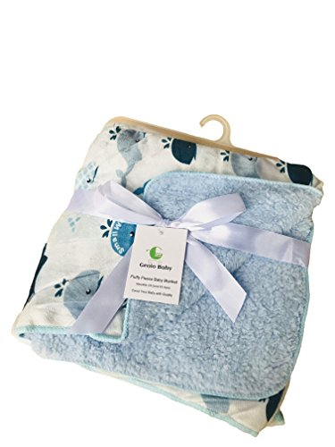 Genio Baby Sherpa Fleece Baby Blanket Unisex 30 x 40 Soft- Perfect for Swaddling and Strolling- Fluffy for Boys and Girls (Blue)