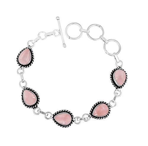 Genuine Oval Shape Rose Quartz Link Bracelet 925 Silver Plated Handmade Vintage Bohemian Style Jewelry for Women