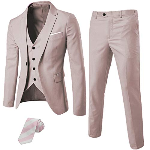MY'S Men's 3 Piece Suit Blazer Slim Fit One Button Notch Lapel Dress Business Wedding Party Jacket Vest Pants & Tie Set Beige
