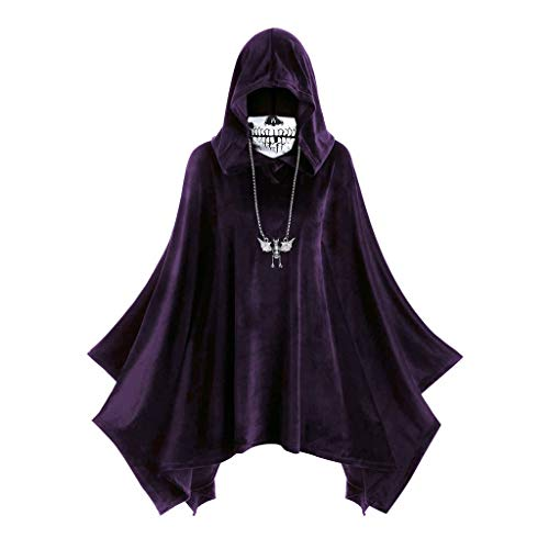 HebeTop Women's Hooded Tops Cape Coat Halloween Skull Mask Print Dress ()