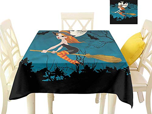 (WilliamsDecor Dinning Table Covers Witch,Spooky Woodland Halloween Dinning Tabletop Decoration W 60