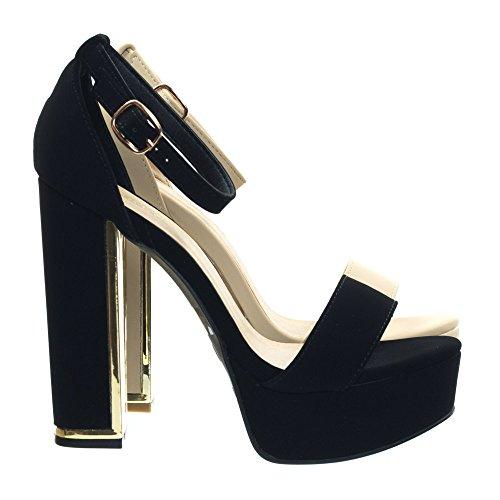 Platform Heel Metal Plated Black Block Sandal Trim Dress Bamboo OxHqSw4T