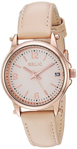 Relic by Fossil Women's Matilda Quartz Metal and Leather Casual Watch, Color: Rose Gold, Blush (Model: ZR34382)
