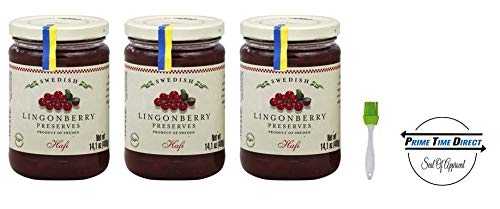 (Hafi Lingonberry Preserves 14.1 oz (Pack of 3) with Silicone Basting Brush in a Prime Time Direct Sealed Bag)