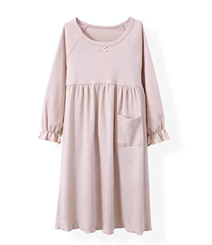 HOYMN Girls' Nightgowns & Sleep Shirts Cotton Sleepwear for Toddler 2-11 Years (2-3 Years, lotu Pure Beige)