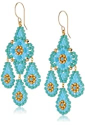 Miguel Ases Turquoise-Color Classic Chandelier Drop Earrings