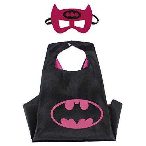 Superhero CAPE & MASK SET Kids Childrens Halloween Costume Batwoman]()