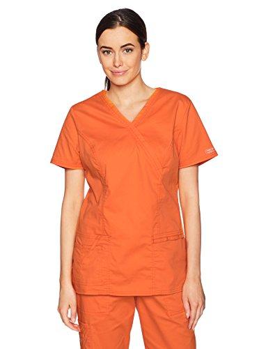 (Cherokee Women's Workwear Core Stretch Mock Wrap Top, Pumpkin)