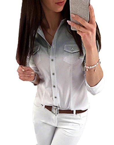 Chemisier Shirts Jeune Printemps avec Automne et Revers Haut Longues Casual Couleur Gris Fashion Manches Tops Femme Gradient Blouses Bouton TTfAztxwq