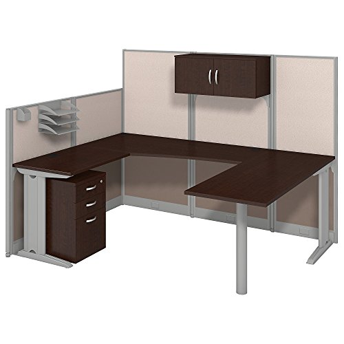 (Bush Business Furniture Office in an Hour 89W x 65D U Shaped Cubicle Workstation with Storage in Mocha Cherry)