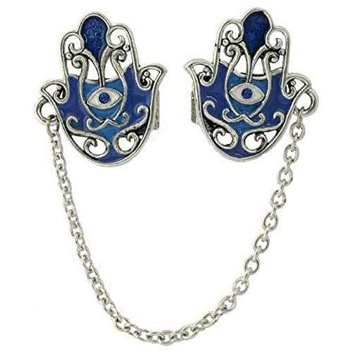 Hand Made Hamsa Prayer Shawl Clips - Tonal Blue/Silver
